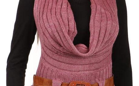 Dámská pletená vesta s páskem fialová