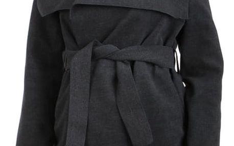 Dlouhý dámský kabát - kardigan s páskem šedá