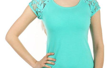 Dámské jednoduché tričko s krajkou zelená