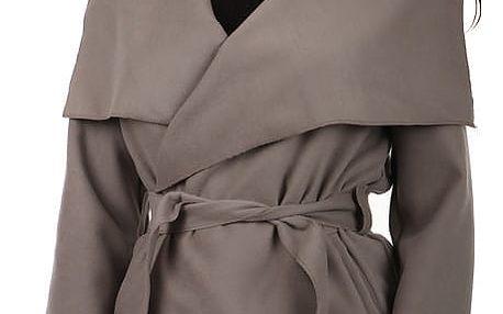 Krátký zavinovací dámský kabát tmavě béžová
