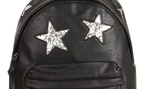 Koženkový batůžek se třpytivými hvězdami stříbrná