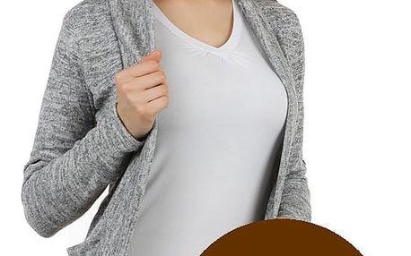 Stylový cardigan s dlouhým rukávem tmavě hnědá