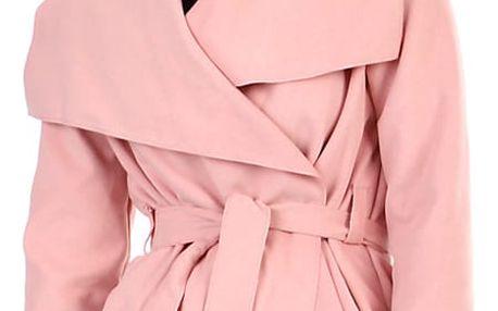 Dámský krátký kabátek s páskem starorůžová