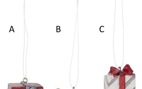 IB LAURSEN Závěsná vánoční dekorace Gift Typ B, červená barva, bílá barva, pryskyřice