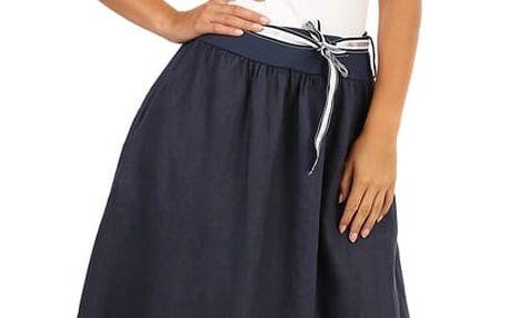 Lněná dámská maxi sukně s kapsami denim