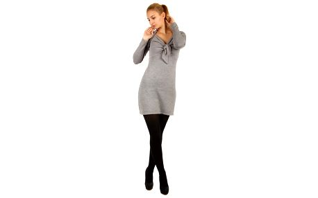 Dlouhý svetr/šaty s ozdobným uzlem světle šedá