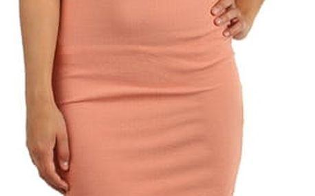 Pouzdrové šaty s průhlednými rameny starorůžová