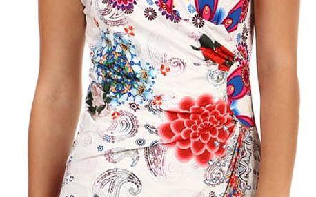 Bílé zavinovací šaty s potiskem - i pro plnoštíhlé