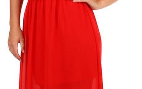 Dlouhé šifonové maxi šaty červená