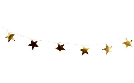 Tine K Home Vánoční girlanda Gold Metal Stars, zlatá barva, kov, textil