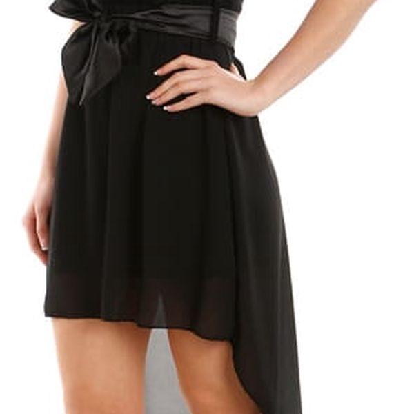 Asymetrické šaty s krajkou černá