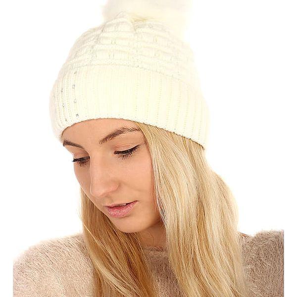 Pletená čepice s kamínky tmavě šedá2