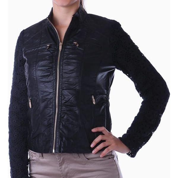 Koženková bunda s krajkovými rukávy černá2