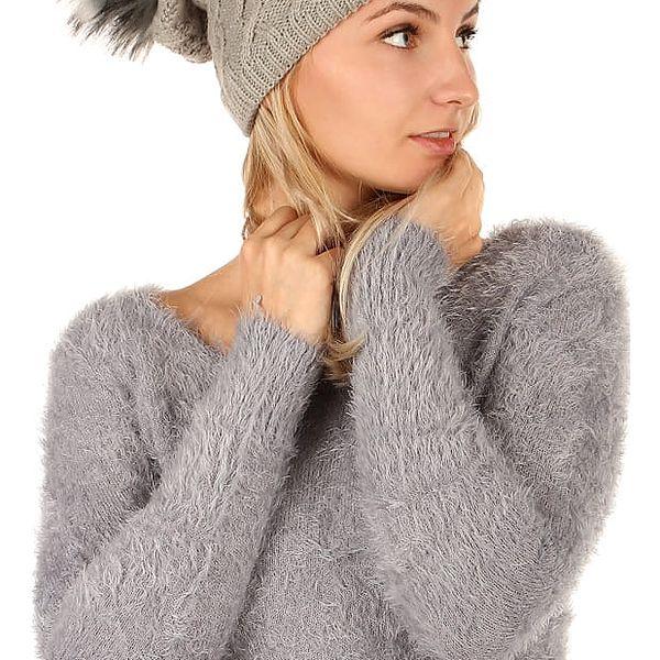 Pletená čepice s bambulí tmavě šedá