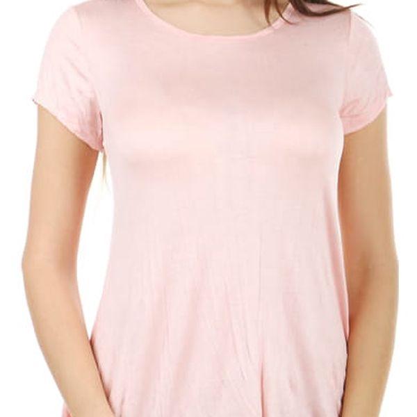 Pohodlné tričko s krátkým rukávem světle růžová