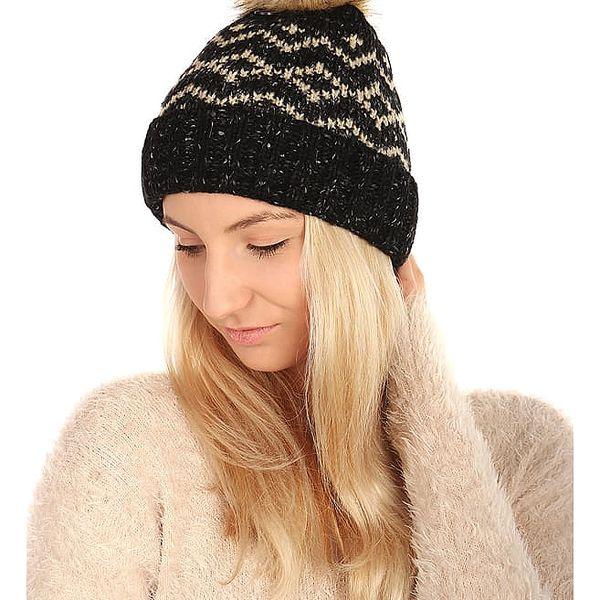 Vzorovaná pletená čepice hnědá2