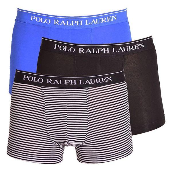 3PACK pánské boxerky Ralph Lauren černo modré s pruhy L