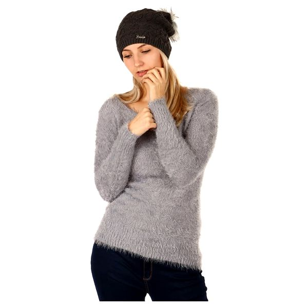 Pletená čepice s bambulí tmavě šedá4