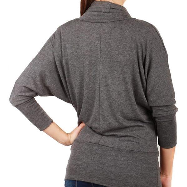 Dámský svetr s netopýřími rukávy světle šedá3