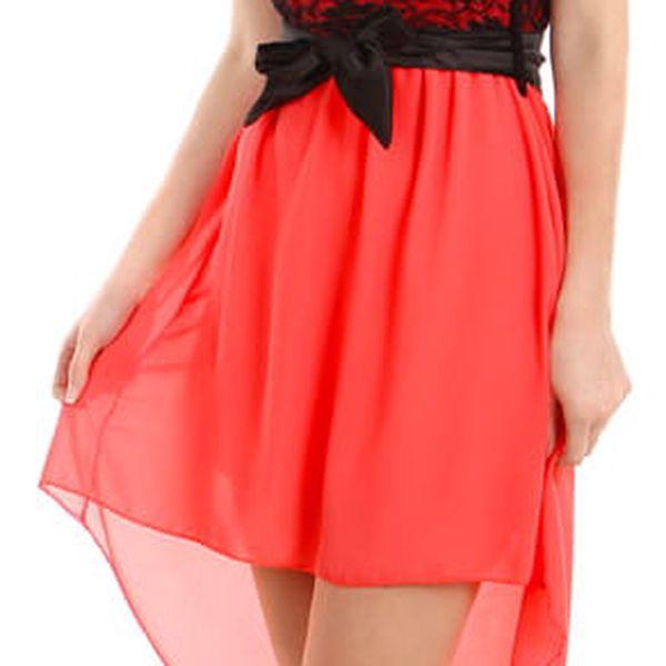 Asymetrické šaty s krajkou černá3