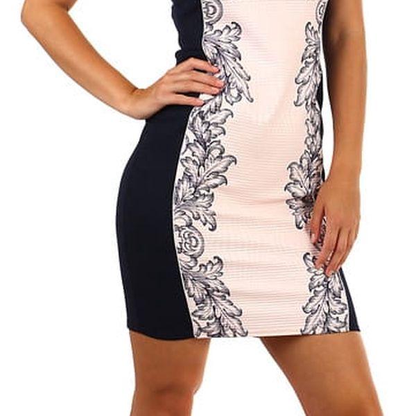 Luxusní společenské šaty s potiskem a krajkou i pro plnoštíhlé