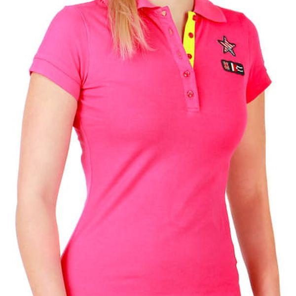 Dámské triko s límečkem růžová
