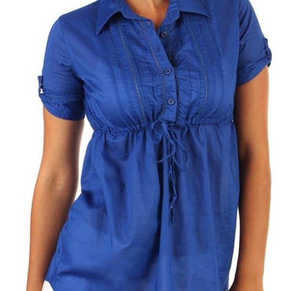 Prodloužená dámská halenka- krátký rukáv modrá