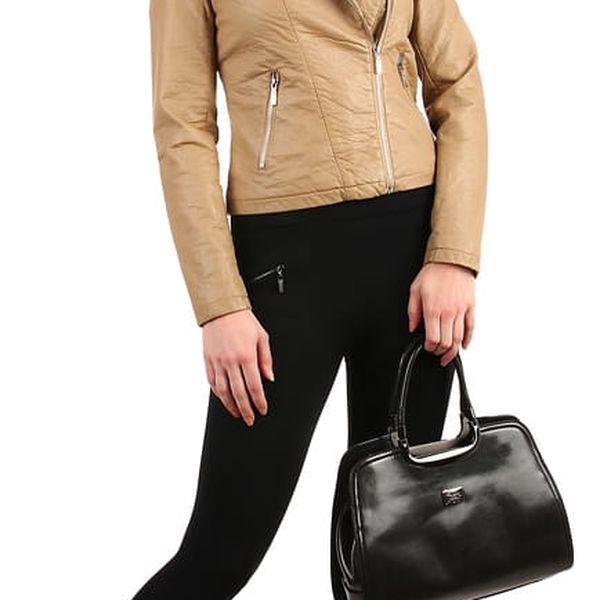 Dámská koženková bunda černá2