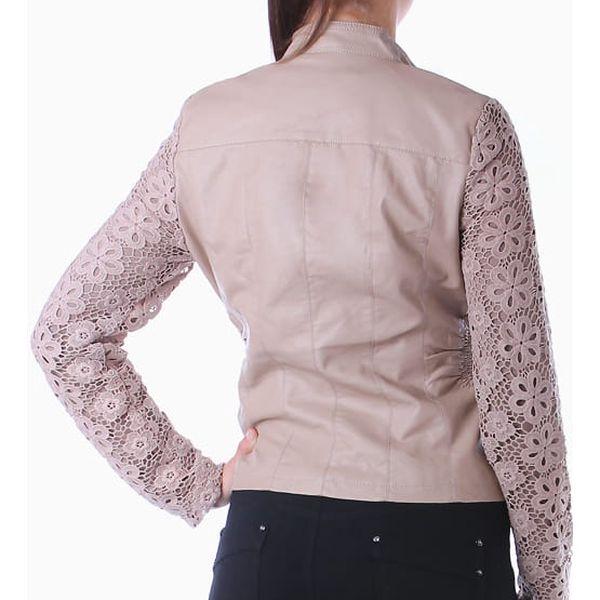 Koženková bunda s krajkovými rukávy černá3