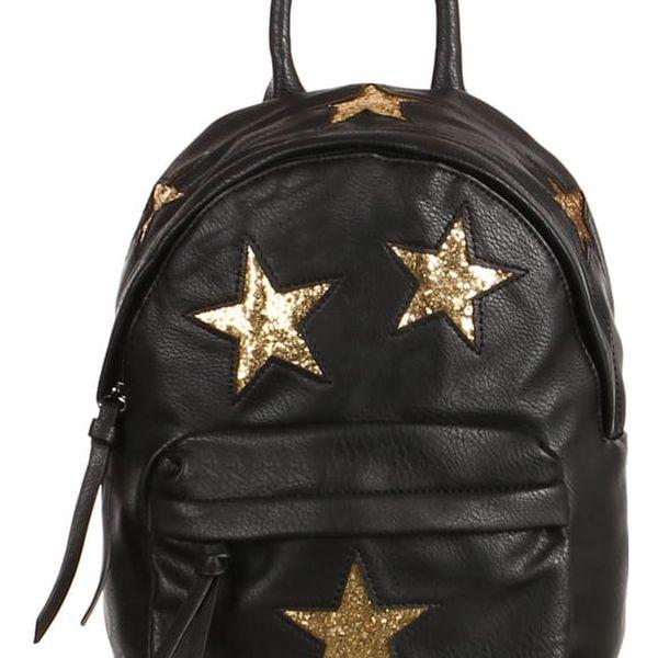 Koženkový batůžek se třpytivými hvězdami zlatá