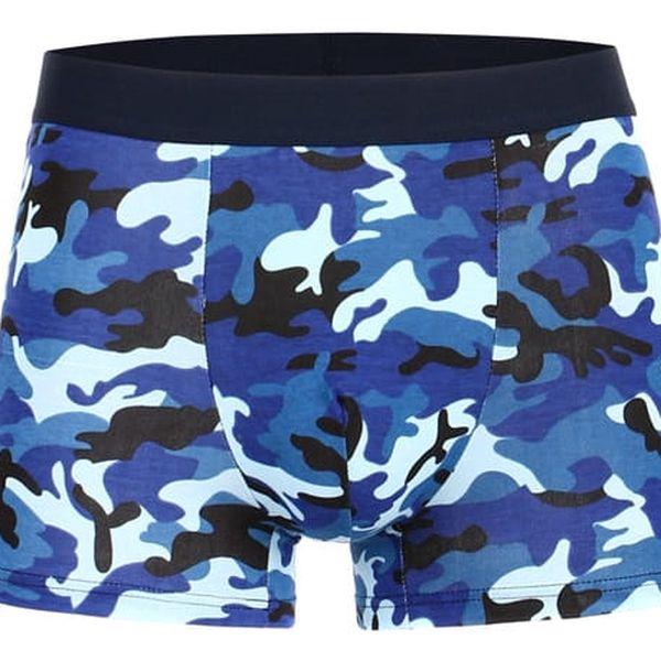 Bavlněné maskáčové boxerky modrá2