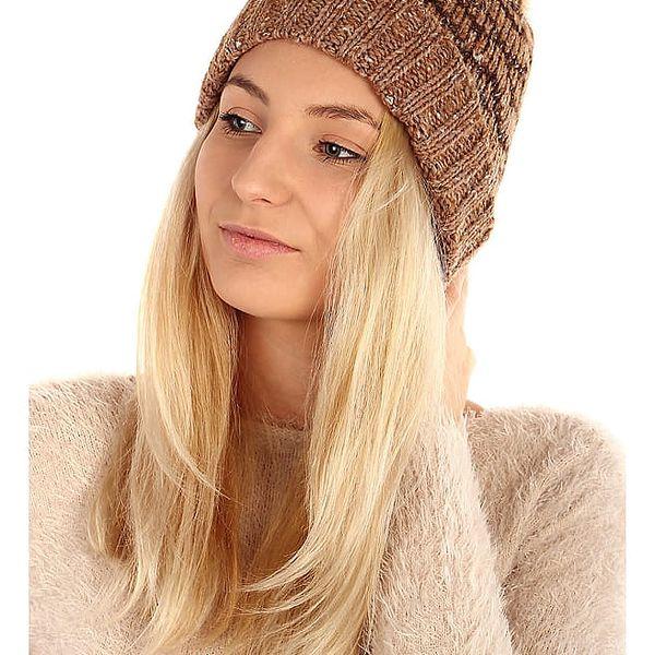 Vzorovaná pletená čepice hnědá4