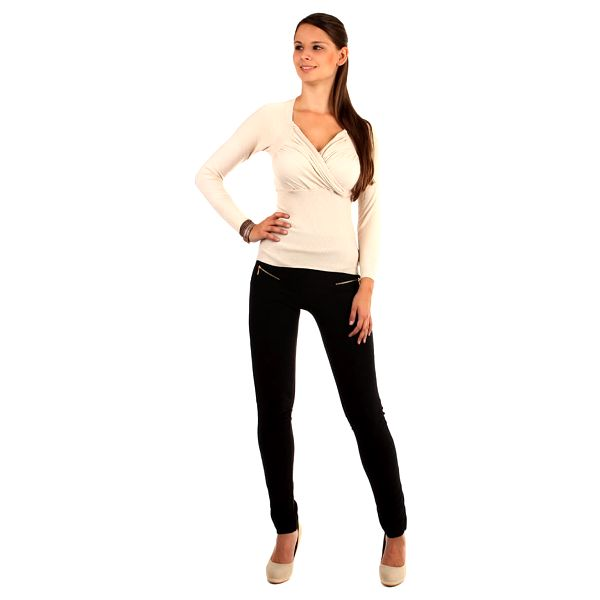 Zavinovací svetr s nařaseným výstřihem  tmavě béžová