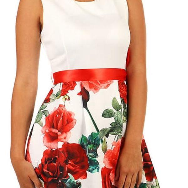 Šaty áčkového střihu s potiskem růží červená