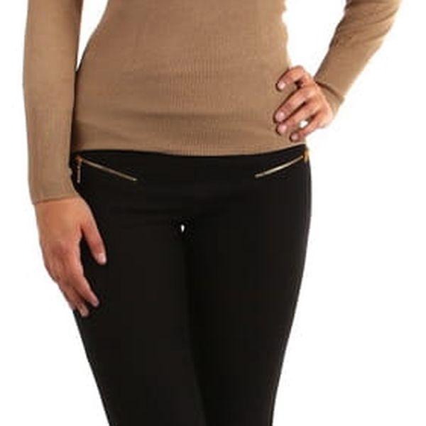 Zavinovací svetr s nařaseným výstřihem tmavě béžová2