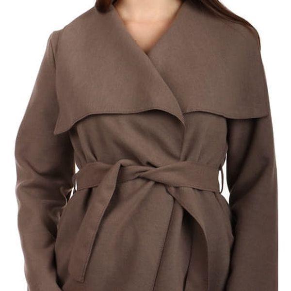 Dámský krátký kabátek s páskem tmavě hnědá