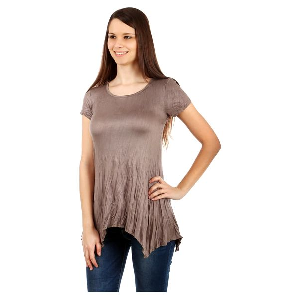 Dámské asymetrické tričko světle hnědá