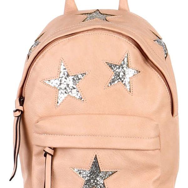 Koženkový batůžek se třpytivými hvězdami růžová