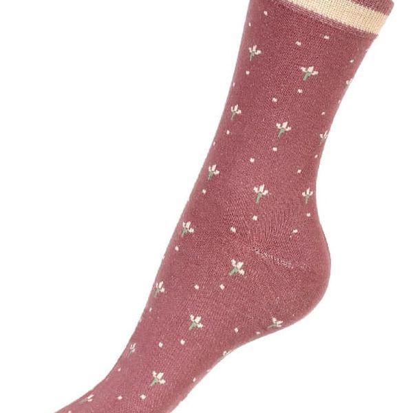 Dámské ponožky s květy světle šedá