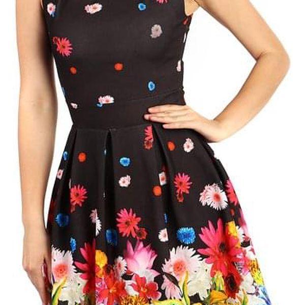 Letní květované šaty černá