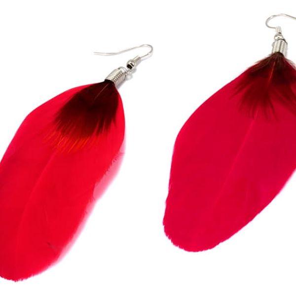 Peříčkové naušnice červená