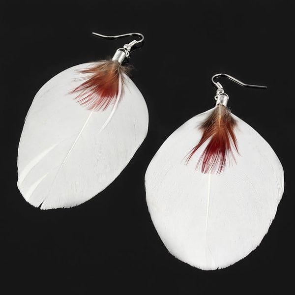 Peříčkové naušnice bílá