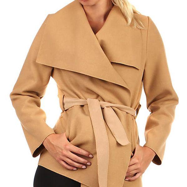 Krátký kabátek s páskem světle hnědá