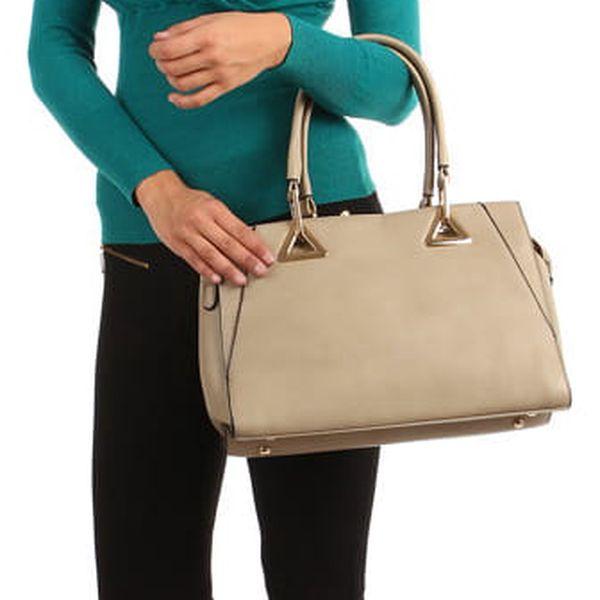 Zavinovací svetr s nařaseným výstřihem tmavě béžová4