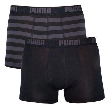 2PACK Pánské Boxerky Puma Black Stripes Long L