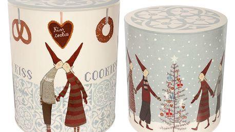 Maileg Vánoční box Pixy Cookies Dark Větší, šedá barva, bílá barva, kov