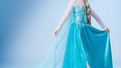 Kostým Frozen princezny Elsy a Anny z Ledového království + korunka, hůlka, copánek a rukavice.