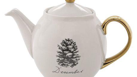 Bloomingville Keramická čajová konvice Maria, černá barva, zlatá barva, krémová barva, keramika