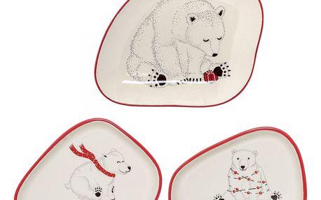 Bloomingville Vánoční talířek Twinkle Medvěd s baňkami, červená barva, krémová barva, keramika