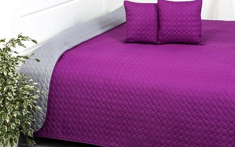 4Home Přehoz na postel Doubleface fialová/šedá, 220 x 240 cm, 40 x 40 cm